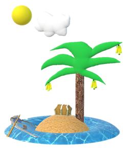 Paint 3D werkt super snel. Binnen 10 minuten had ik dit eiland al gemaakt.